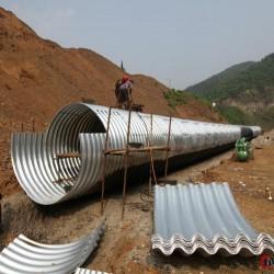 波纹涵管厂家 陕西钢波纹涵管施工 钢结构管廊排水图片